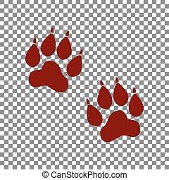 signe., rouge foncé, arrière-plan., pistes, animal,...