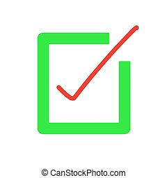signe., rouge vert, liste, icon., boîte, marque, chèque, bouton
