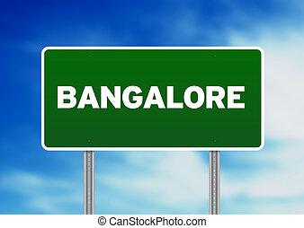 signe, route, bangalore, -, vert