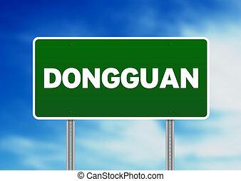 signe, route, -, dongguan, vert
