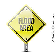 signe, route, inondation, illustration, secteur