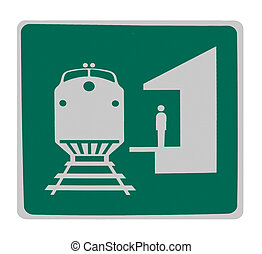 signe, route, isolé, -, station, train