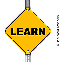 signe, route jaune, apprendre