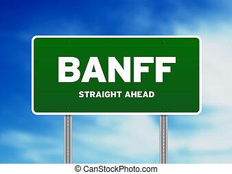 signe, route, -, vert, banff