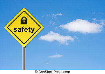 signe, sécurité, cadenas, ciel, arrière-plan.