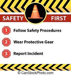 signe, sécurité, lieu travail, icône