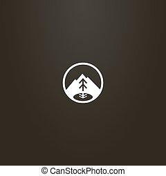 signe, simple, arbre, lac montagne, sapin, vecteur, rond, cadre