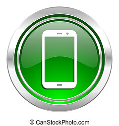 signe, smartphone, téléphone, vert, bouton, icône