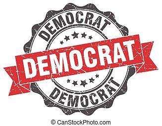 signe., stamp., démocrate, cachet