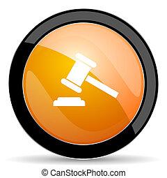 signe, symbole, orange, tribunal, icône, verdict, enchère