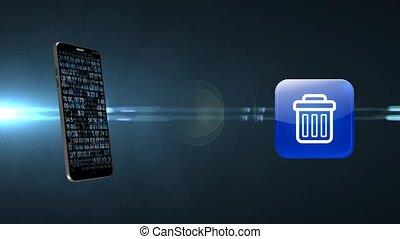 signe, téléphone, clogging, mobile, déchets ménagers, ...