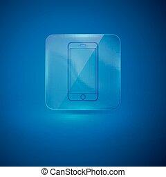 signe, téléphone portable, icône, verre