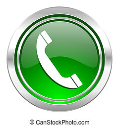 signe, téléphone, téléphone, vert, bouton, icône