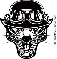 signe, t, illustration, étiquette, élément, affiche, conception, shirt., tête, pantera, emblème, logo, motard, helmet.