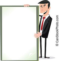signe, tenue, vide, homme affaires, blanc, dessin animé