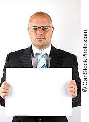 signe, tenue, vide, homme affaires, message, ton