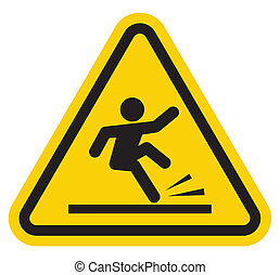 signe, tomber, avertissement, escalier, fermé