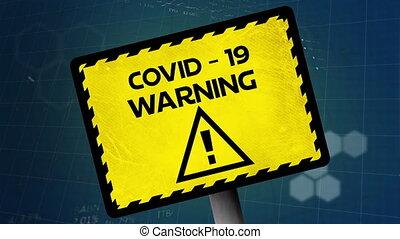 signe, traitement, covid-19, texte, données, avertissement, ...