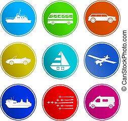 signe, transport, icônes