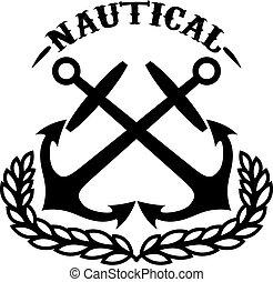 signe., traversé, gabarit, anchors., élément, emblème, nautical., étiquette, logo, conception, couronne