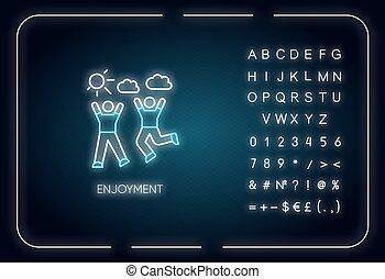 signe, vecteur, couleur, togetherness., nombres, symbols., passe-temps, extérieur, lumière néon, extérieur, amitié, incandescent, recreation., rgb, effect., icon., actif, isolé, jouissance, illustration, alphabet