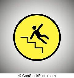 signe., vecteur, glissant, tomber, escalier, homme