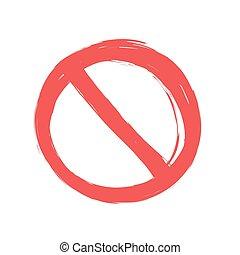 signe, vecteur, grunge, illustration, non