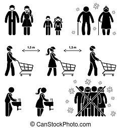 signe, vecteur, magasin, icône, distance, femme, mains, enfants, symbole, personnes agées, pictogram., foule, règles, crosse, ensemble, risque, laver, homme nombre, éviter, grand-père, illustration, social, gosse, coronavirus