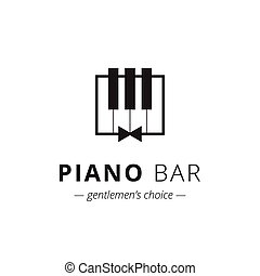 signe, vecteur, musique, minimalistic, piano, logo.