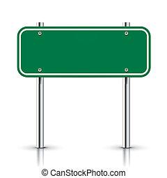 signe, vecteur, vert, vide, trafic, route, 3d