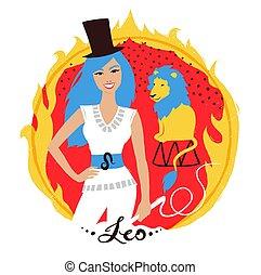 signe., vecteur, zodiaque, illustration, lion