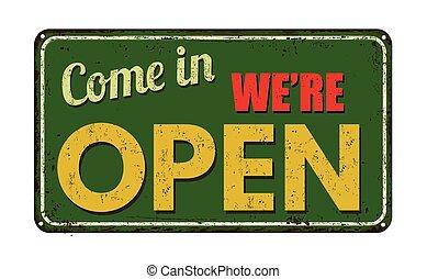 signe, venir, vendange, ouvert, métal, we're