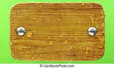 signe, vent, coups, bolts., fer, bois, gouttes pluie, loin
