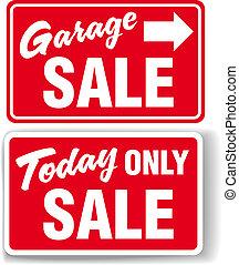 signe vente, garage, seulement, flèche, aujourd'hui