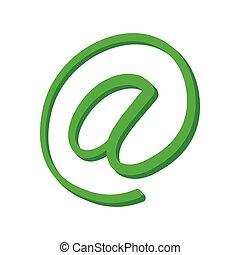signe, vert, dessin animé, icône