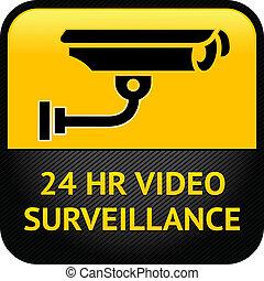 signe, vidéo, autocollant, cctv, surveillance