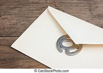signe, vieux, publipostage, e-mail, enveloppe