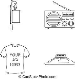 signe, voiture, t-shirt, réverbère, roof., radio, inscription