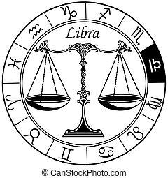 signe, zodiaque, noir, blanc, balance