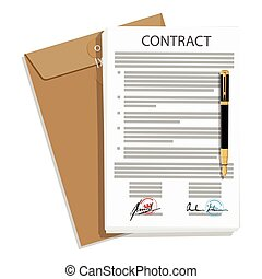 Vector illustration of signed business contract, agreement icon with round stamps and brown envelope, pen. Paper deal