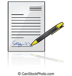 Signed document - Glossy illustration showing a document...