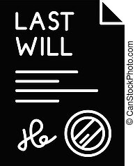 Signed last will black glyph icon. Document with stamp. ...