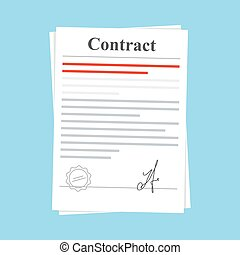 Signed paper deal contract icon agreement. Document with a stamp and a signature. Flat illustration isolated on blue background.