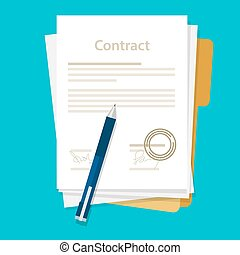 signed paper deal contract icon agreement pen on desk flat business illustration vector drawing
