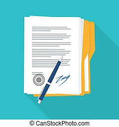 signed paper deal contract icon.