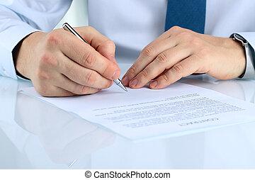 signer, affaires contractent, détails, contrat, homme ...