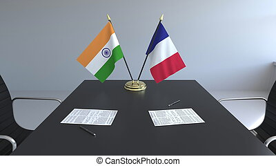signer, agreement., inde, france, rendre, drapeaux, papiers, conceptuel, international, table., négociations, 3d