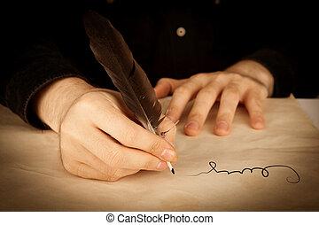 signer, closeup, contrat
