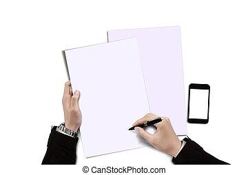 signer, concept, contrat, papier, vide, homme affaires