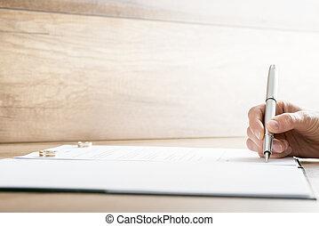 signer, divorce, contrat, mariage, papiers, ou